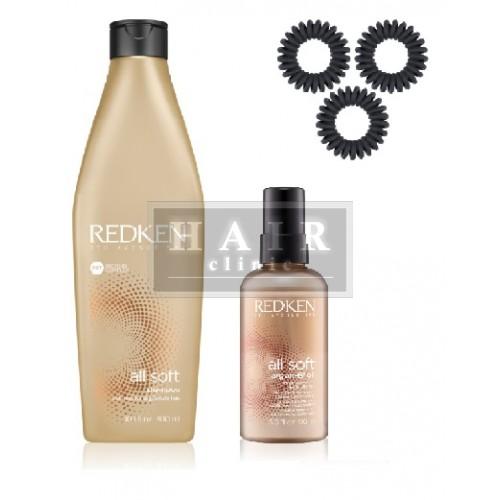 Redken, ALL SOFT SET šampón+olej+gumičky